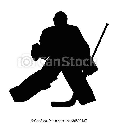 シルエット, goal., 氷, 横切って, ベクトル, ホッケー, 動く, ゴールキーパー - csp36829187