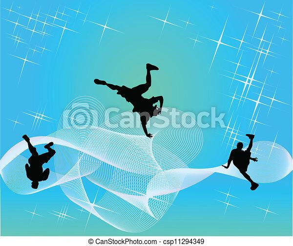 シルエット, teens., streetdancers - csp11294349