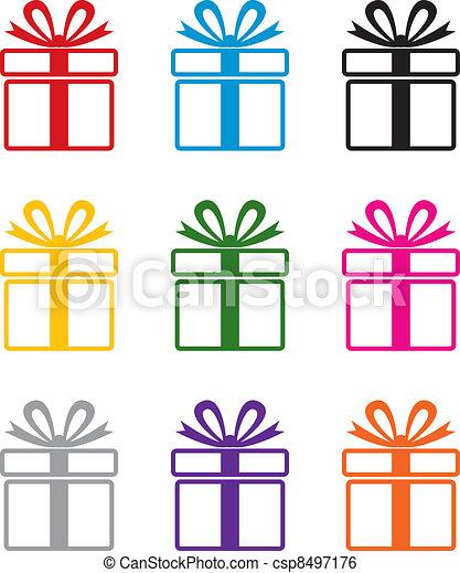 シンボル, カラフルである, 贈り物, ベクトル, 箱 - csp8497176