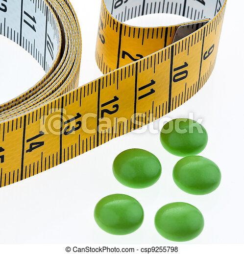シンボル, ダイエットピル, 巻き尺, タブレット - csp9255798