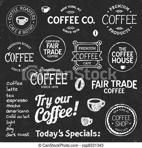 シンボル, テキスト, コーヒー, 黒板 - csp9331343