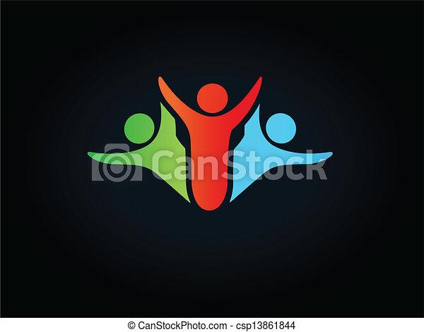シンボル, -, ベクトル, 人間, ロゴ, アイコン - csp13861844