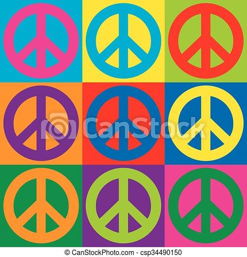 シンボル, 平和, 芸術, ポンとはじけなさい - csp34490150