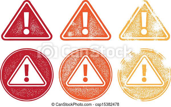 シンボル, 警告, グランジ, アイコン - csp15382478