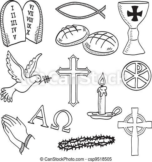 シンボル, hand-drawn, キリスト教徒, イラスト - csp9518505