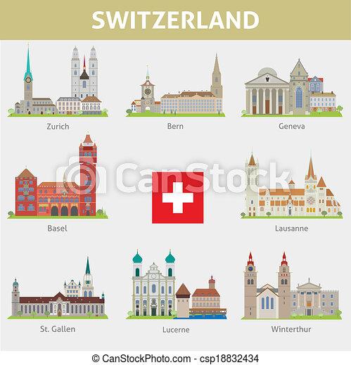 シンボル, switzerland., セット, cities., ベクトル - csp18832434