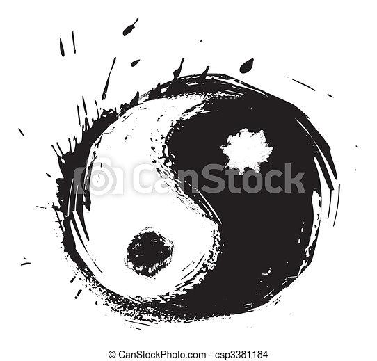 シンボル, yin - yang, 芸術的 - csp3381184