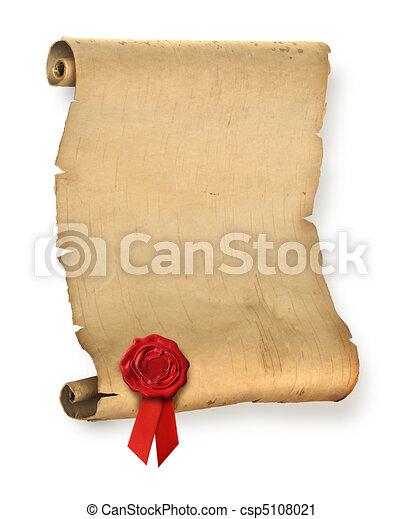 シール, 古い, 羊皮紙, 赤, ワックス - csp5108021