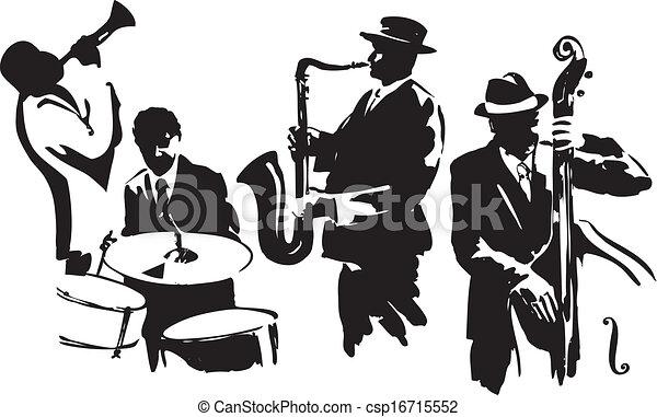 ジャズ 四つ組 シルエット Editable イラスト ベクトル 黒 音楽家