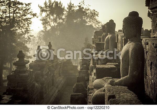 ジャワ, borobudur, インドネシア, 寺院, 日の出 - csp12220210