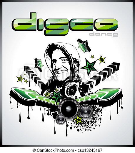 ジョッキー, discoteque, 形, 音楽, 背景, フライヤ, ディスク, でき事 - csp13245167