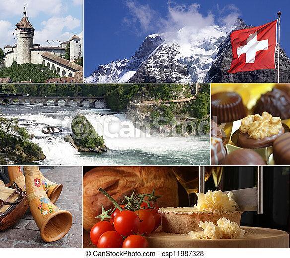 スイス, ランドマーク, コラージュ - csp11987328
