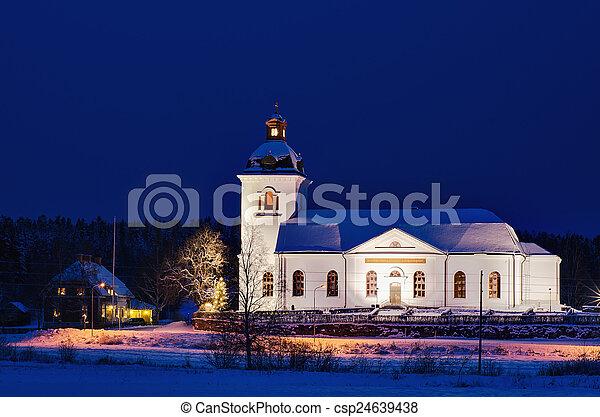 スウェーデン, 夜, 教会 - csp24639438