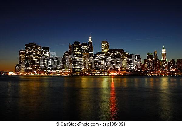 スカイライン, マンハッタン, 夜 - csp1084331