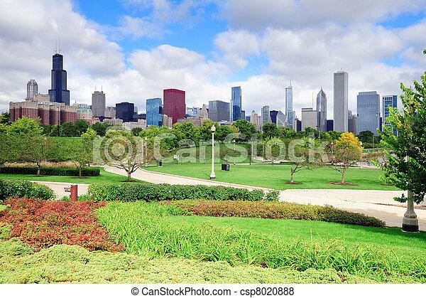 スカイライン, 公園, 上に, シカゴ - csp8020888