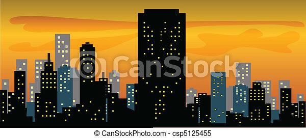 スカイライン, 大きい都市, 日没 - csp5125455