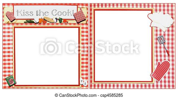 スクラップブック, フレーム, 料理, テンプレート - csp4585285