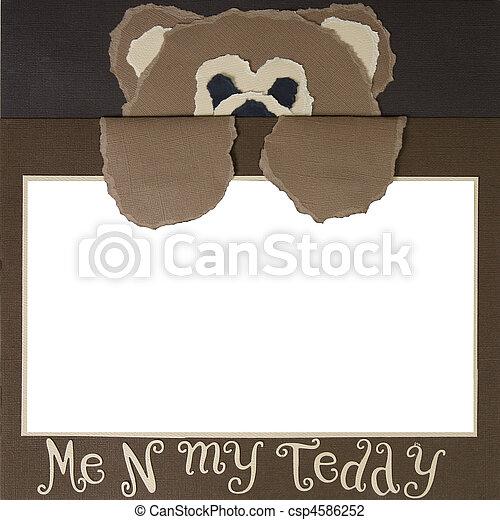 スクラップブック, フレーム, 熊, テンプレート, テディ - csp4586252