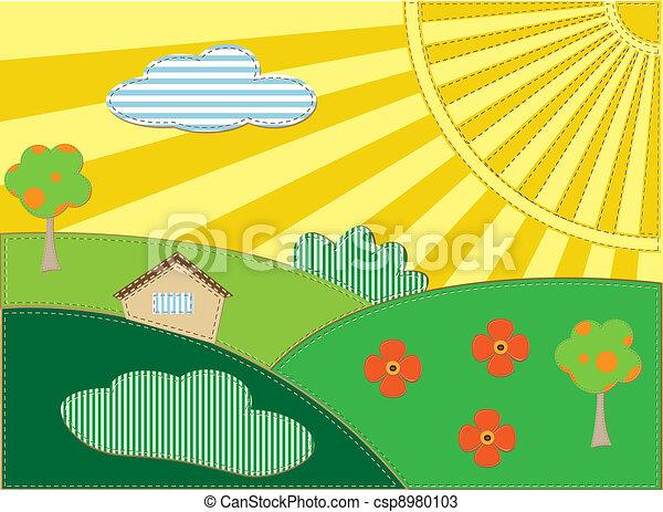 スクラップブック, 背景, 風景 - csp8980103