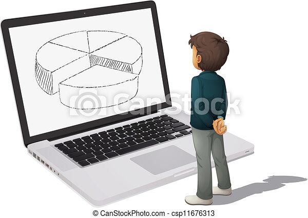 スクリーン, チャート, パイ, 見る, コンピュータ, 人 - csp11676313
