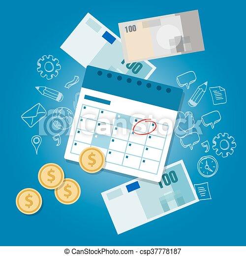 スケジュール, お金, 支払い, 給料日, 期限, カレンダー, 日, 支払期限が過ぎている - csp37778187