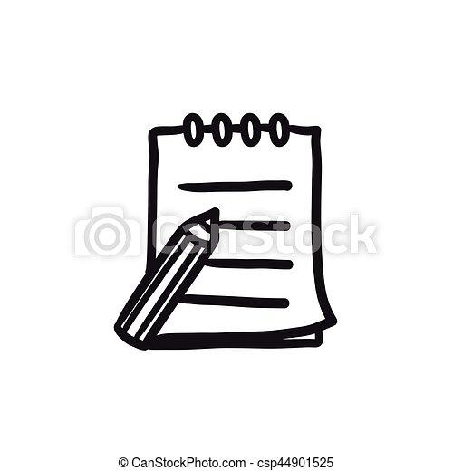 スケッチの パッド, ペン, icon., 執筆 - csp44901525