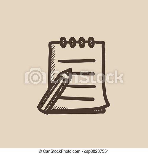 スケッチの パッド, ペン, icon., 執筆 - csp38207551
