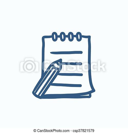 スケッチの パッド, ペン, icon., 執筆 - csp37821579