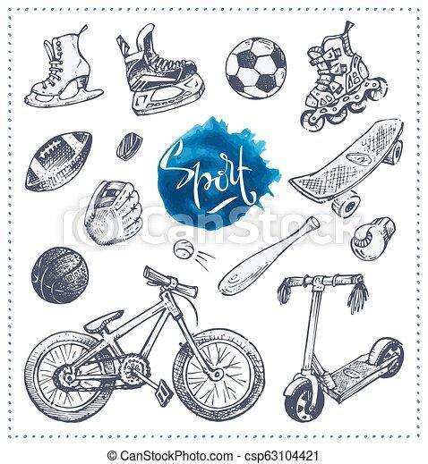 スケッチ, アイコン, equipment., 手, ベクトル, 引かれる, スポーツ - csp63104421
