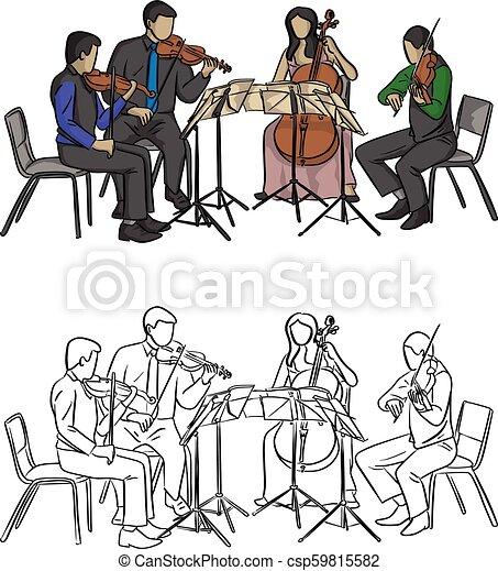 スケッチ, グループ, いたずら書き, ライン, 隔離された, イラスト, 手, ベクトル, 黒い背景, 音楽家, 引かれる, 白, 遊び, 四つ組 - csp59815582