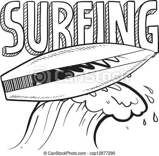スケッチ, サーフィン - csp12877290