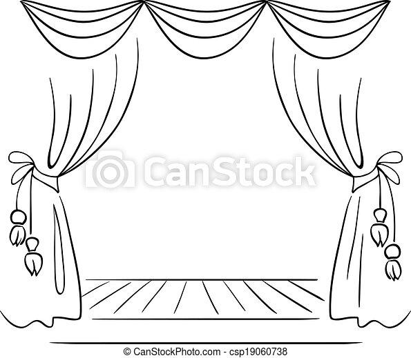 スケッチ, ベクトル, 劇場, ステージ - csp19060738