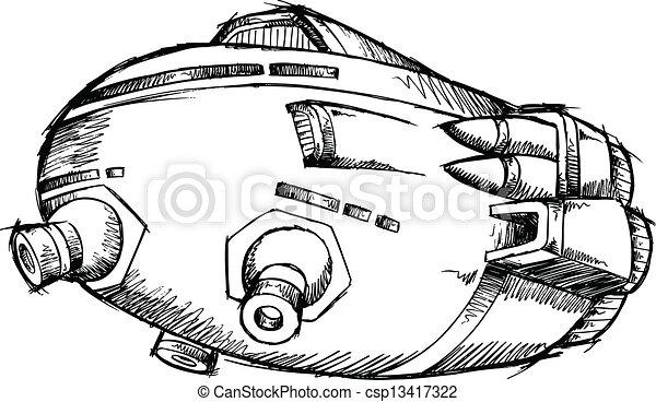 スケッチ, ベクトル, 芸術, 宇宙船, ufo - csp13417322