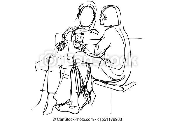 スケッチ, ベンチ, 恋人, 若い - csp51179983