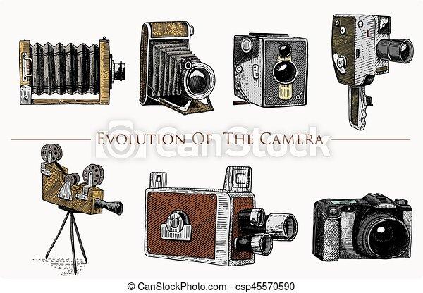 スケッチ, 古い, 写真, スタイル, 切口, 映画, 隔離された, 型, 見る, 現金用引き出し, 木, レトロ, 引かれる, カメラ, イラスト, 手, レンズ, ビデオ, 今, 進化, フィルム