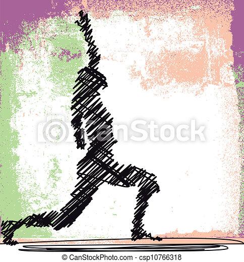 スケッチ, 女, 抽象的, yoga., 瞑想する, イラスト, ベクトル - csp10766318