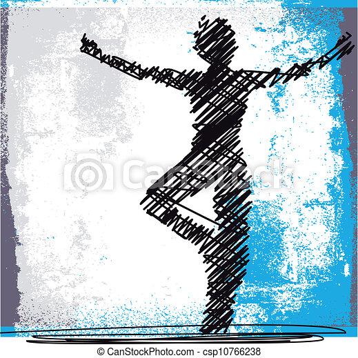 スケッチ, 女, 抽象的, yoga., 瞑想する, イラスト, ベクトル - csp10766238