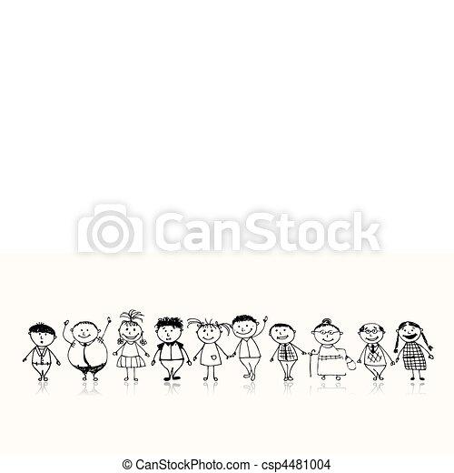 スケッチ, 家族, 大きい, 一緒に, 微笑, 図画, 幸せ - csp4481004