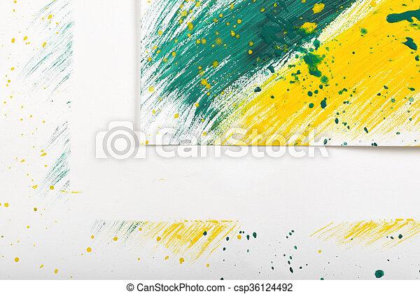 スケッチ, 抽象的, 黄緑色, gouache, ブラシ, 背景, コーナー, 白, 跡, 手 - ペイントされた - csp36124492