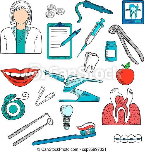 スケッチ, 歯科医, 歯科医術, 女性, アイコン - csp35997321