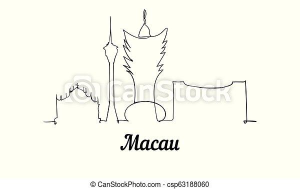 スケッチ, illustration., マカウ, スタイル, 1(人・つ), ベクトル, 線 - csp63188060