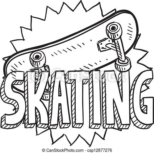 スケッチ, skateboarding - csp12877276