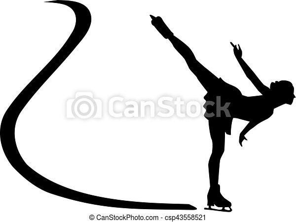 スケート, シルエット, 氷 - csp43558521