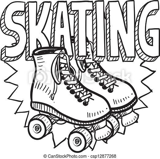 スケート, スケッチ, ローラー - csp12877268