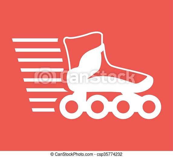スケート, スピード, ローラー, アイコン - csp35774232