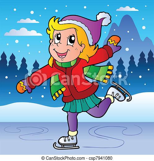 スケート, 女の子, 冬場面 - csp7941080