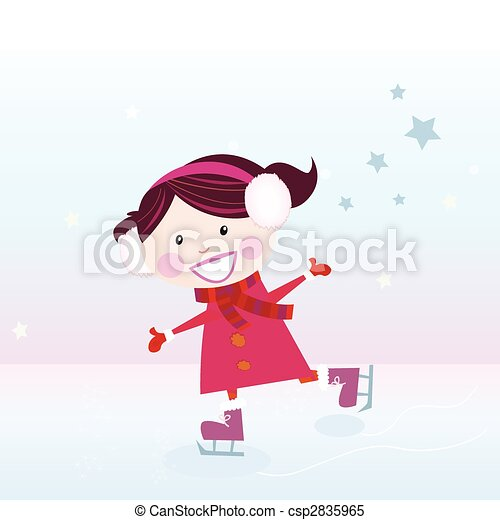 スケート, 女の子, 氷 - csp2835965