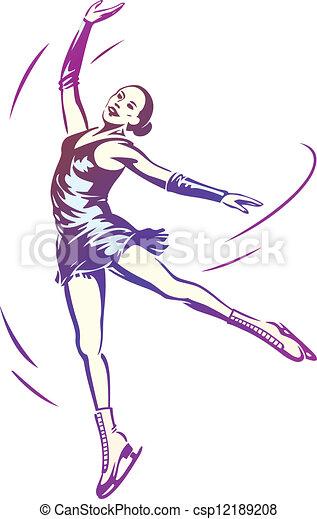 スケート, 女, 数字 - csp12189208