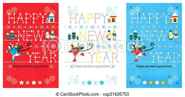 スケート, 新しい, 幸せ, 年 - csp31626753