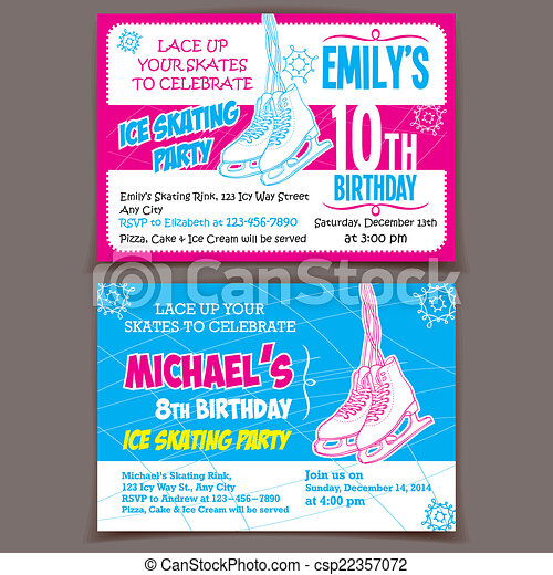 スケート, 氷, birthday, 招待, カード, パーティー - csp22357072